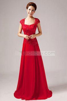 Elegant Short Sleeves A-Line Lace Floor Length Evening Dress