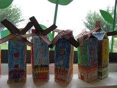 Molens van melkpakken Scrabble, Monet, Netherlands, Holland, Recycling, Bird, School, Crafts, The Nederlands