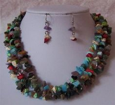 Black Brown Blue Turquoise Western Gemstone Necklace Set