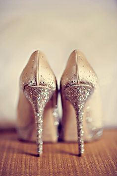 White and Gold Wedding Shoes. Sparkly Glitter Heels. Bride Shoes. Shoes