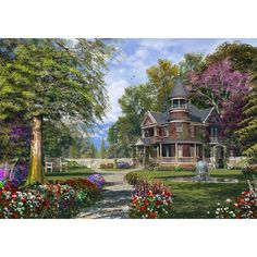"""Late Summer Garden"" - Don't you just wish this was your home? This chocolate box scene makes a perfect gift for any #gardener"