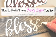 DIY sign tutorial, handmade sign, blessed, faith sign - Famous Last Words Diy Crafts For Gifts, Home Crafts, Crafts For The Home, Creative Crafts, Fun Crafts, Hobby Lobby, Fixer Upper, Blessed Sign, Text Signs