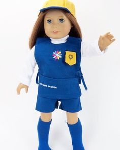 Daisy Scout Uniform - clothes for American Girl® and other 18 inch dolls - girls scouts, apron, blue