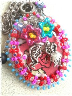 """Day of the Dead """"Eternal Flames"""" dancing couple   beaded necklace with vintage pieces and charm!  Made by Create Beautiful Beads on Facebook"""