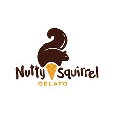 Ice cream logo design inspiration: Nutty Squirrel Gelato Logo by Modern Dog Design Co.