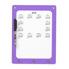 2016 Amethyst Dry Erase Calendar by Janz Dry Erase Board