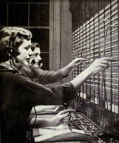 1950 Bell System telephone switchboard operators.