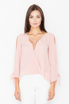Fashion Blouse in Pink with Stylish Cut Out Sleeves