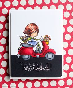 Copic Coloring Tiddly Inks Scootin' By card by Kristina Werner Spectrum Noir Markers, Tiddly Inks, Karten Diy, Scrapbooking, Textiles, Marianne Design, Ink Stamps, Card Sketches, Copics