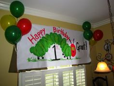 the very hungry caterpillar--can use that ballon painting idea to make!!!
