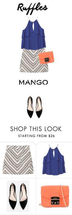 """""""mango"""" by hajnicska56 ❤ liked on Polyvore featuring MANGO, Furla, topset and ruffledtops"""