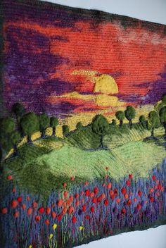 Sunset  needle felted art by Indrasideas on Etsy