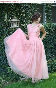 ON SALE 50s peach prom dress party chiffon pin up bombshell apricot wedding size small. $198.75, via Etsy.