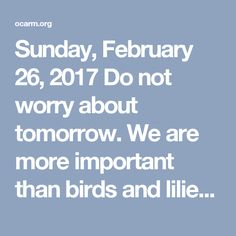Sunday, February 2017 Do not worry about tomorrow. We are more important than birds and lilies Matthew