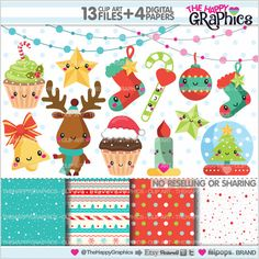 Christmas Clipart Christmas Graphics by TheHappyGraphics on Etsy