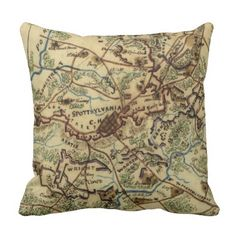 Vintage Spotsylvania Virginia Civil War Map (1865) Throw Pillow