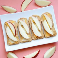 Melba toasts with nut butter, cheese slices and apples! This, plus 8 more ideas here: 9 Quick and Healthy After-School Snacks | CBC Parents