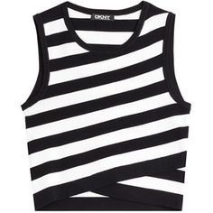 DKNY - Sleeveless Striped Cotton Top