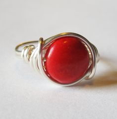 wire wrapped stone jewelry | Red Magnesite Gemstone Ring In Silver, Wire Wrapped Jewelry on Luulla