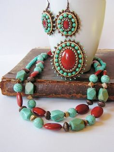 Bead embroidery Brooch Beadwork brooch Red jasper brooch Turquoise Brown Beige Copper Brooch Eye catching brooch, perfect addition for a summer