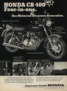 Honda CB400F retro advertisement
