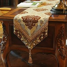 European Style Table Runner High-grade Embroidery Simple Fashion Table Flag Crystal Tassel Tea Runners 2016 Hot Sale New Arrival Burlap Table Runners, Lace Table, Coffee Table Runner, Old World Furniture, Table Flag, Cushion Cover Designs, Bed Runner, Burlap Crafts, Dining Decor