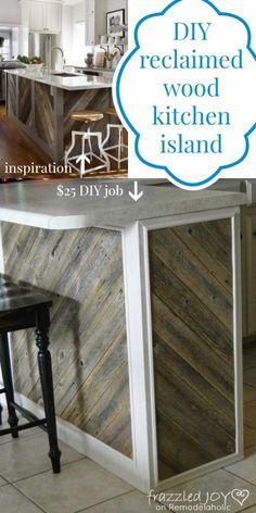 DIY Reclaimed Wood Kitchen Island, Frazzled Joy on Remodelaholic.com #reclaimedwood #recycle #kitchenisland
