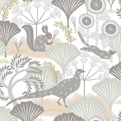 The whimsy Scandinavian wallpaper pattern features creatures and plants in a soothing palette of blush beige, soft greys, seafoam, and a hint of yellow.