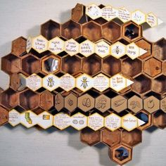 To Bee or Not To Bee: The Life and Death of the Honey Bee by Elise Guidoux and Karen Koshgarian. 12 concertina books enclosed in various cells of a hand constructed honeycomb, designed to either hang on a wall or lay flat on a surface. Arches Text Wove