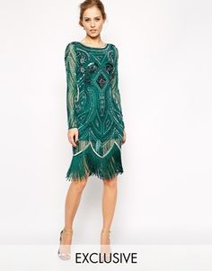 Frock and Frill All Over Emerald Forest Green Bead and Sequin Embellished Long-Sleeved Flapper Gatsby 20s Style Dress with Scalloped Tassel Fringe Trim Hem