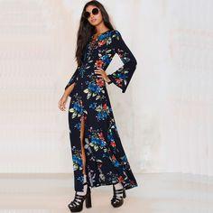New Arrival 2016 Spring Summer Women Dress Flower Print V-neck Chiffon Dress Split Maxi Long Dress Vintage Bohemian Vestidos XXL