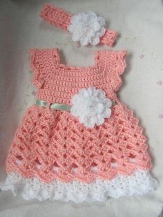 Newborn Baby Girl Dress & Headband Set ( Made to Order) Infant Dress, Pink Baby Dress, Baby Dress With Headband) Baby Gift Set, Crochet BabyDiscover thousands of images about Baby Girl Easter Dress Dress Dress Headband & Shoes MADEThis is really nice Crochet Toddler, Baby Girl Crochet, Crochet Baby Clothes, Crochet For Kids, Free Crochet, Baby Outfits Newborn, Baby Girl Newborn, Baby Patterns, Crochet Patterns