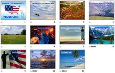 """Here is a powerpoint presentation that accompanies the song """"America The Beautiful"""". I use it in my class when I teach patriotic songs. There are 11 gorgeous slides with high quality pictures and lyrics.*There is NO music track included. Patriotic Powerpoint Presentations Pack 1 (collection of 4)U.S.A. - Interactive States & Capitals - SMARTBOARD FILEU.S.A. - Interactive States & Capitals Matching - SMARTBOARD FILEThe Star Spangled Banner - PowerPointGod Bless America - PowerPointMy Country…"""