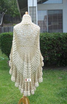 Cream BEIGE PONCHO TURTLENECK  Shawl Crochet Victorian Feminine Capelet Chic Romantic Fashion Ruffled Original Hippie.