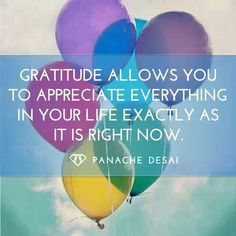 """❥ """"Gratitude allows you to appreciate everything in your life, exactly as it is right now."""" ~~Panache Desai"""