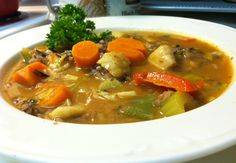 Jamaican Fish Soup - Recipe suggests using Porgy or Snapper (or substitute your favorite firm-fleshed, fatty fish)...this soup is loaded with vegetables and has a delicious curry seasoned broth - International Recipes