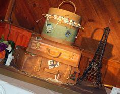 Luggage Cake at a Calamigos Ranch Wedding by Pastries By Vreeke Square Wedding Cakes, Wedding Cake Photos, Themed Wedding Cakes, Luggage Cake, Suitcase Cake, Vintage Travel Wedding, Travel Cake, Retirement Cakes, Creative Wedding Cakes