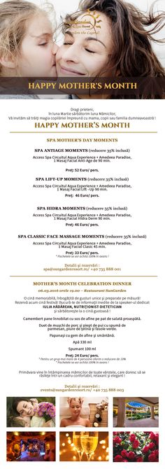 Newsletter happy mothers month Face Massage, Resort Spa, Happy Mothers, Celebrations, Facial, In This Moment, Dining, Facial Massage, Facial Treatment