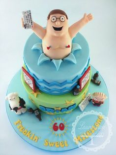 Family Guy Cake! Cake by LauraJaneCakeDesign  Nipple tassels are hilarious!