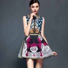 Exquisite Bohemian A-Line Dress Vintage Floral Print Elegant Dress