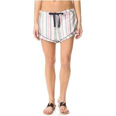 Solid & Striped The Tracy Piped Shorts (156 AUD) ❤ liked on Polyvore featuring shorts, spring multi stripe, multi colored shorts, cotton shorts, stripe shorts, colorful shorts and striped shorts
