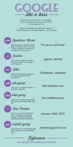 Google Like A Boss. I learned these things in high school and forgot most of them! Nice refresher.