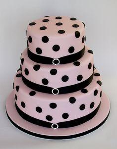 Pink & Black Polka Dot Cake by ConsumedbyCake, via Flickr