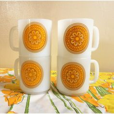 Royal China Casablanca Milk Glass Coffee Cups, Flower Power Stackable... ($16) via Polyvore featuring home, kitchen & dining, drinkware, stackable coffee mugs, yellow coffee mugs, yellow mugs, stackable coffee cups and stacking mugs