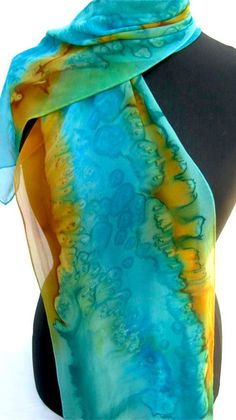 Stunning Hand Painted SILK SCARF in Turquoise and by ShariArts, $36.00