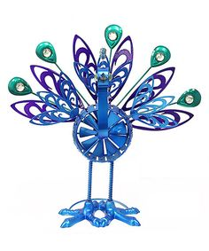 Love this Blue Springee Peacock Spinner Stake by Exhart on #zulily! #zulilyfinds