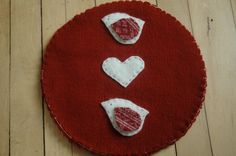 Wool Trivet - Bird and Hearts by LittleWool on Etsy