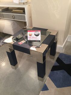 NEW LAUNCH FOR @LIBBYLANGDON   FOR @BRADBURNGALLERY  AN AMAZING NAVY LEATHER AND POLISHED METAL SIDE TABLE WITH GLASS INSET. SO PERFECT FOR SO  MANY SPACES -CLASSIC, YET FRESH! SPACES!