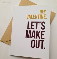 Funny Valentine's Day Card / Humor Valentine for Him / Naughty Valentine / Let's Make Out