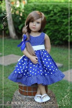 Blue polka dot dress for kidz n cats dolls by swish swirl kidzncats swishandswirl Baby Dress Design, Baby Girl Dress Patterns, Baby Frocks Designs, Kids Frocks Design, American Doll Clothes, Girl Doll Clothes, Barbie Clothes, Frocks For Girls, Little Girl Dresses